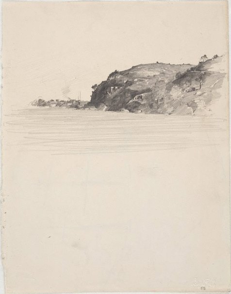 An image of recto: Ball's Head, Sydney Harbour verso: A sketch of the Sobraon by Lloyd Rees