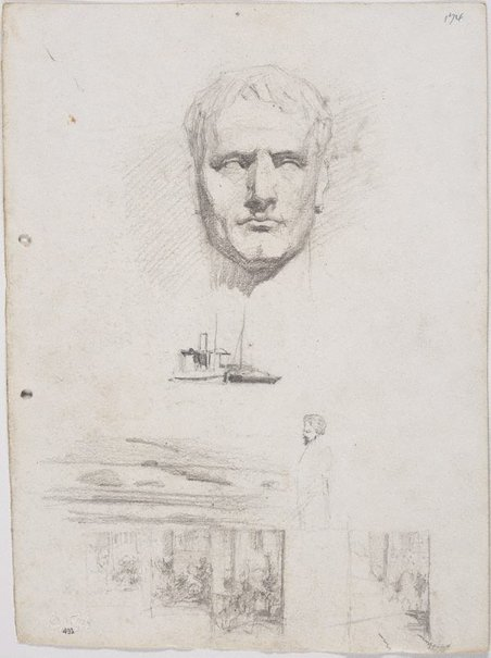 An image of recto: Head of Napoleon from a cast and Small drawings - two boats, façades of towered building verso: Man in a hat and Man's face by Lloyd Rees