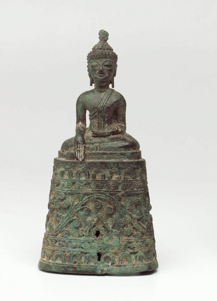 An image of Figure of the Buddha seated on a high ornate base, with his right hand in the earth-touching gesture ('bhumisparsha mudra') by