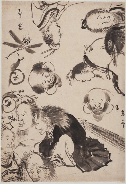 An image of (Sheet of sketches) by Katsushika ISAI