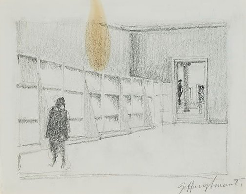 An image of Drawing II for 'Margaret Olley in the Louvre Museum' by Jeffrey Smart