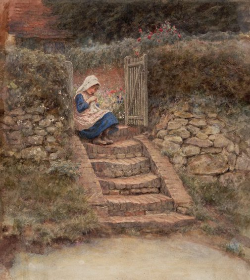 An image of Sewing by Helen Allingham