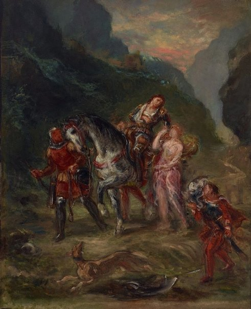An image of Angelica and the wounded Medoro by Eugène Delacroix