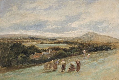 An image of Sketch - landscape with peasants by Samuel Bough