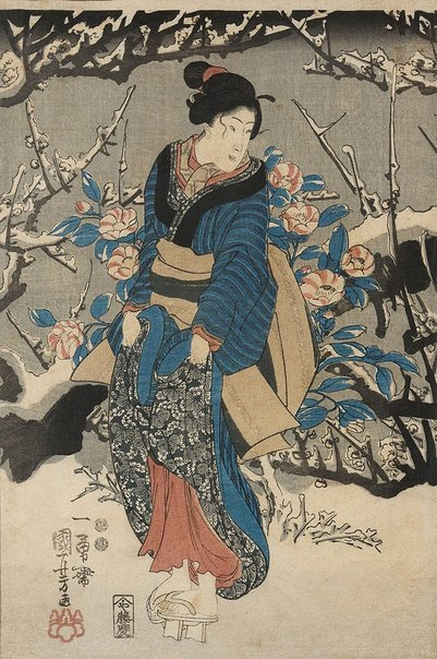 An image of (Woman in snowy garden) by Utagawa KUNIYOSHI