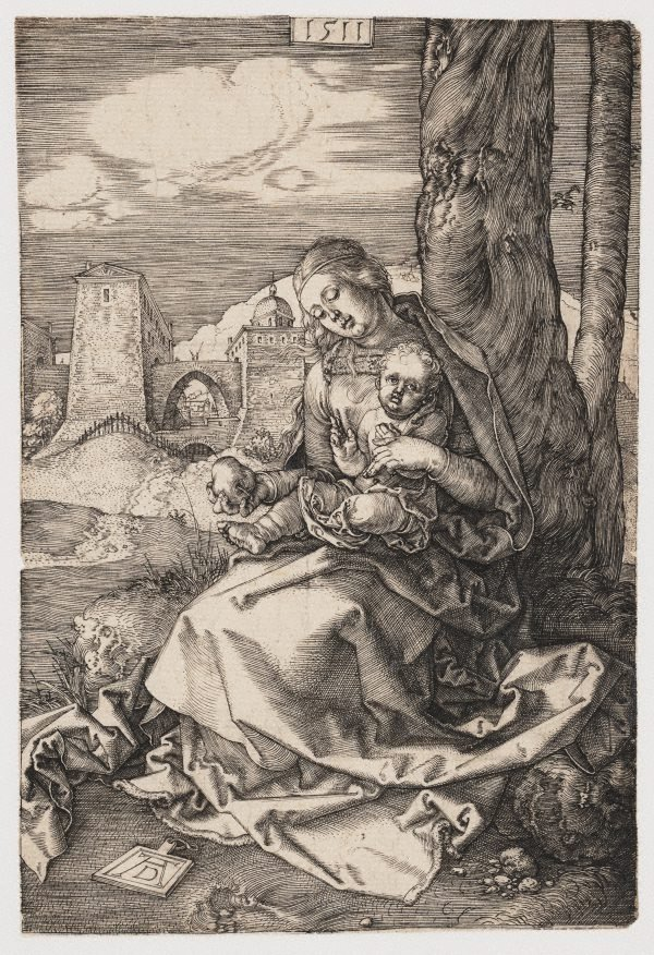 An image of The Virgin and Child with a pear