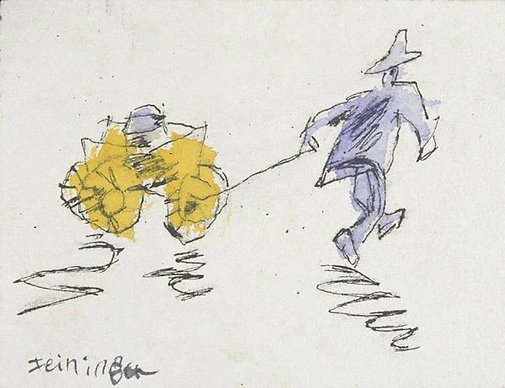 An image of recto: (Man pulling a trolley) verso: (two figures) by Lyonel Feininger