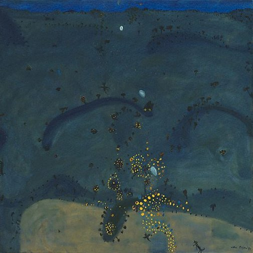 An image of Nightfall, when wattle stains the doubting heart by John Olsen
