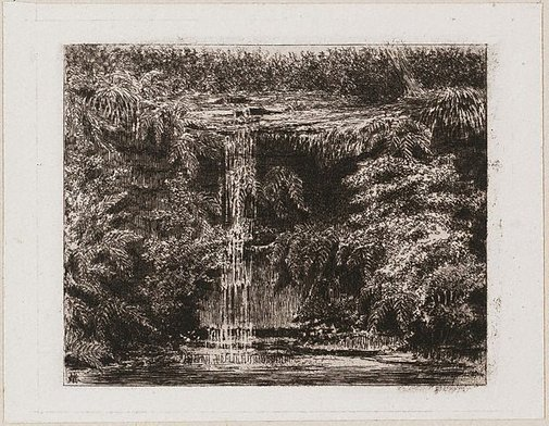 An image of (Blue Mountains waterfall) by E.L. Montefiore