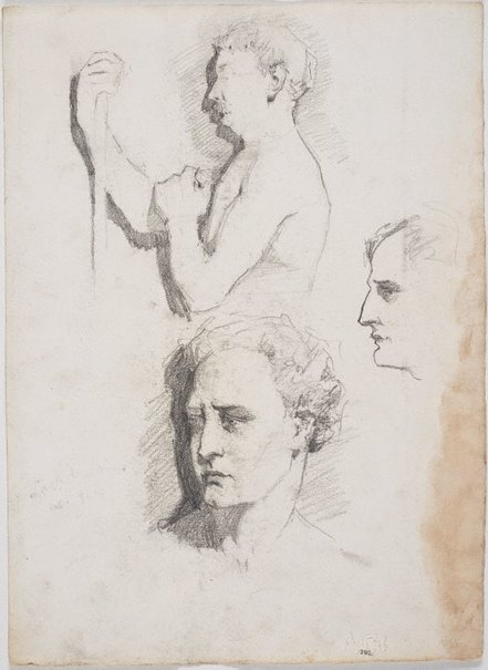 An image of recto: Self portrait as a Roman, Male model and Profile verso: Sketches for the male model by Lloyd Rees
