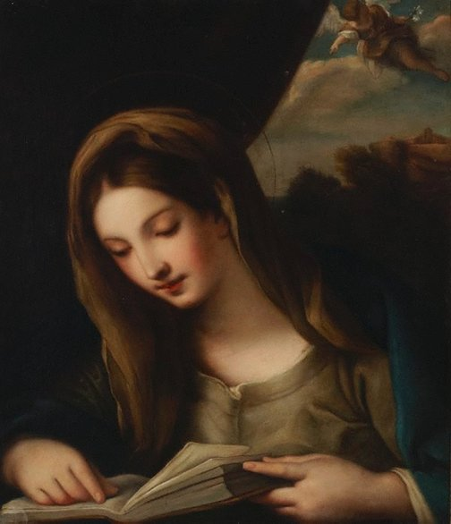 An image of The Virgin reading by Giovanni Brilli, after Carlo Cavaliere Maratti