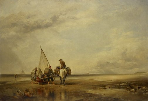 An image of Mont St Michel-Shrimpers by Edward William Cooke