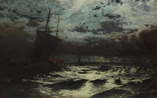 An image of A herring fishery by William Lionel Wyllie