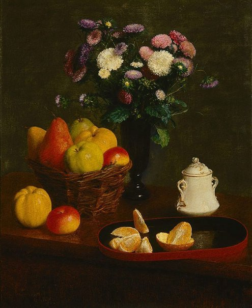 An image of Flowers and fruit by Henri Fantin-Latour