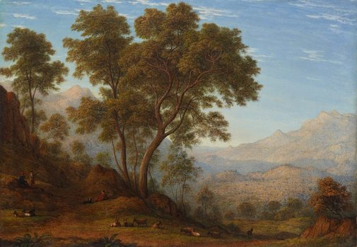 An image of My last view of Italy, looking from the Alps over Suza by John Glover