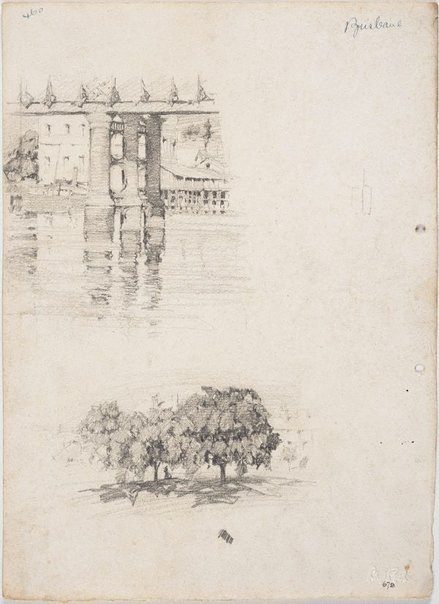 An image of recto: Piers of Victoria Bridge and Trees in the city verso: Trees in the city by Lloyd Rees