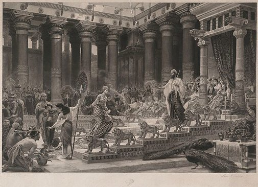 An image of The Queen of Sheba visiting the court of King Solomon by Leon Girardet, after Sir Edward Poynter