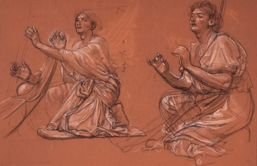 An image of Two studies of harp players by Sir Edward John Poynter