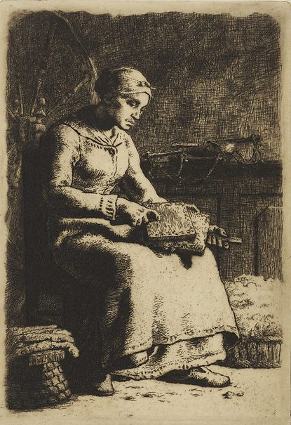 An image of The woolcomber by Jean-François Millet