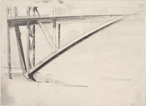 An image of End of the deck, Sydney Harbour Bridge by Lloyd Rees