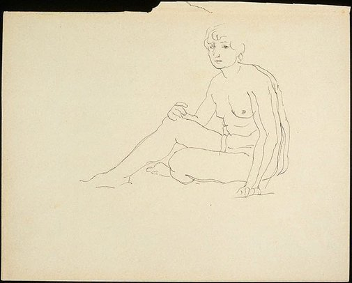 An image of Seated female nude by Rupert Bunny