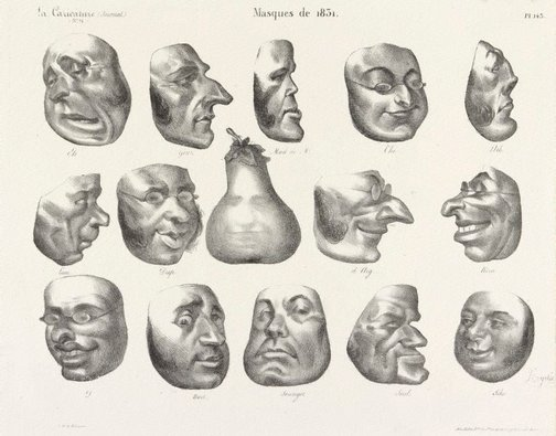 An image of Masks of 1831 by Honoré Daumier