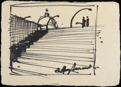 An image of Staircase with figures, streetlights and dome in the background by Jeffrey Smart