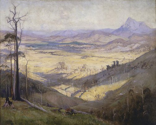 An image of Valley of the Tweed by Elioth Gruner