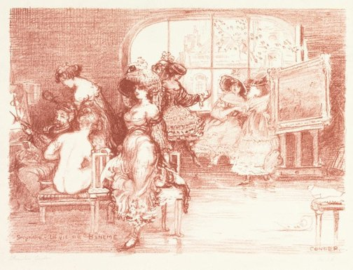 An image of Schaunard's studio: from The carnival set by Charles Conder