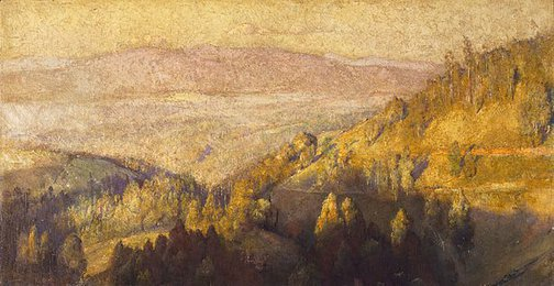 An image of In the shadow of the hills by Tom Roberts