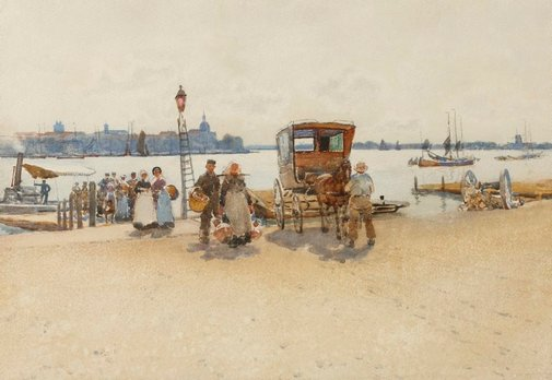 An image of Arriving from the ferry by Robert Weir Allan