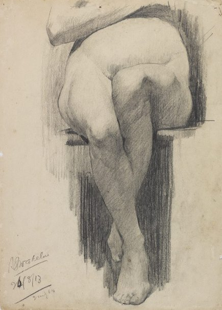 An image of (Seated female nude, leg study) by Roland Wakelin