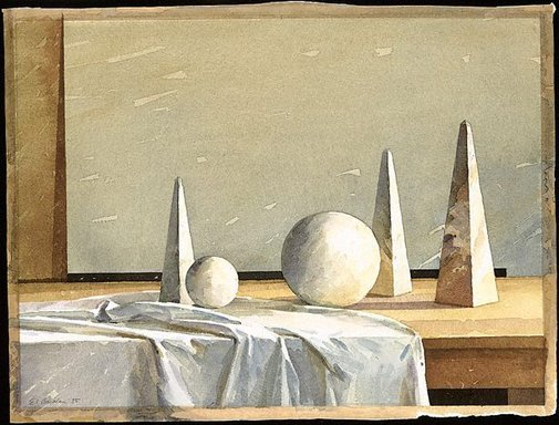 An image of Still-life - slightly classical by Earle Backen