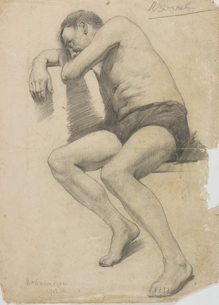 An image of (Seated male nude - McMahon again) by Roland Wakelin