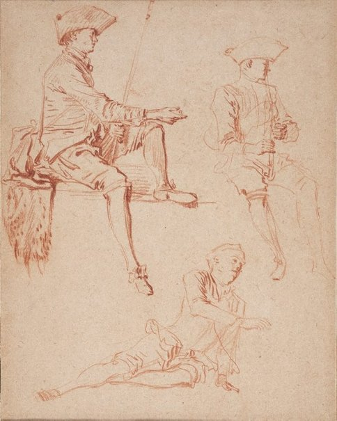 An image of Study of three male figures by Jean-Antoine Watteau