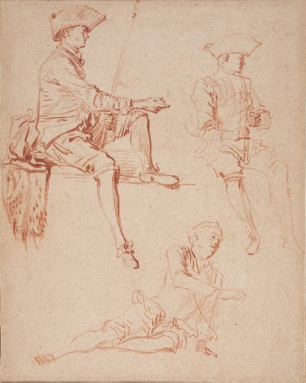 An image of Study of three male figures