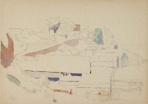 An image of recto: (Boatshed study) verso: (Landscape study) by Roland Wakelin