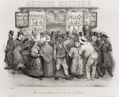 An image of The publisher Aubert. You must admit the government has a comic appearance by Charles-Joseph Traviès de Villers, Charles Philipon