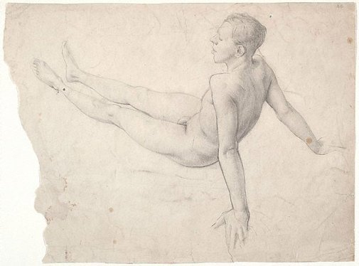 An image of (Male nude seated on the floor) (Student studies) by William Dobell