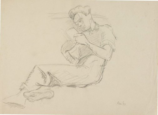 An image of (Seated male, reading) by Roland Wakelin