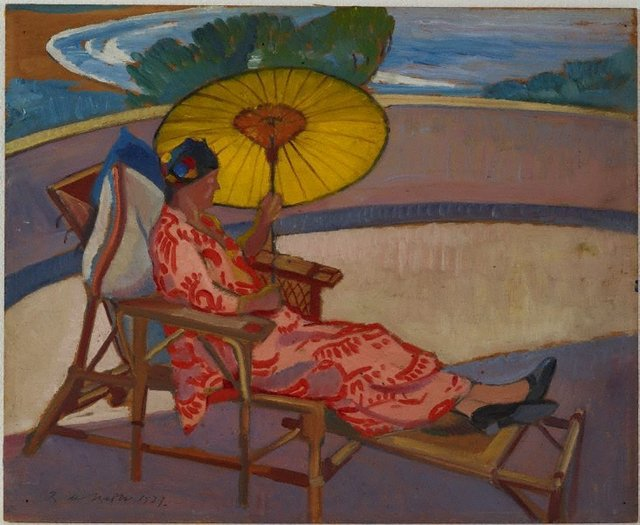 An image of Woman with parasol at Palm Beach