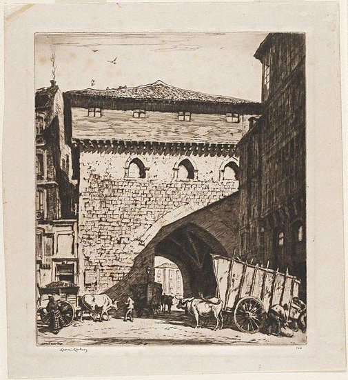 An image of The town gate, Burgos by Lionel Lindsay