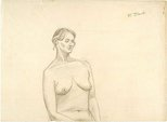 Alternate image of recto: Figure drawing verso: Top half of drawing of female nude signed 'A. Black' by Godfrey Miller