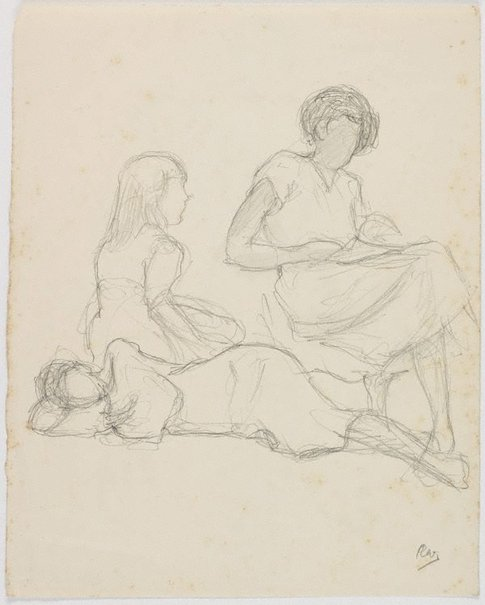 An image of recto: (Seated female figures) verso: (Life studies) by Roland Wakelin