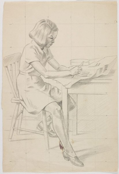An image of verso: (Seated girl, shredding beans) recto: (Seated girl) by Roland Wakelin
