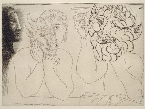 An image of Young man with mask of a bull, faun and profile of a woman by Pablo Picasso