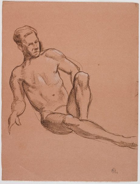 An image of recto: (Reclining male nude) verso: (Standing male nude) by Roland Wakelin
