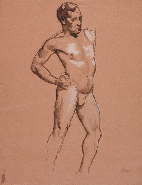An image of (Standing male nude, hand on hip) by Roland Wakelin