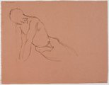 Alternate image of recto: (Reclining male nude, leaning forward) verso: (Reclining male nude, leaning forward) by Roland Wakelin