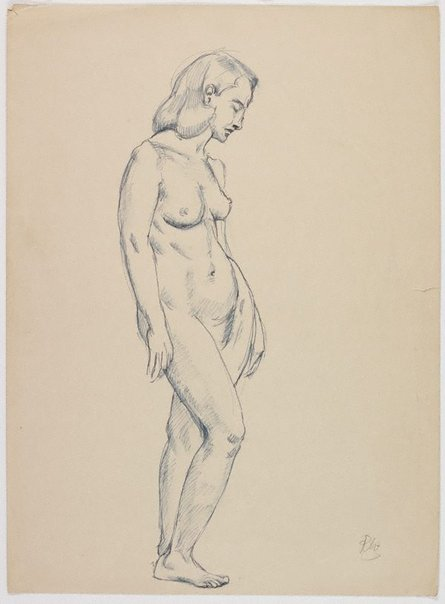 An image of recto: (Standing female nude) verso: (Seated female nude) by Roland Wakelin
